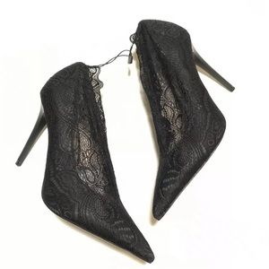 Zara High Heels Size 6.5 37 Black Lace NWT